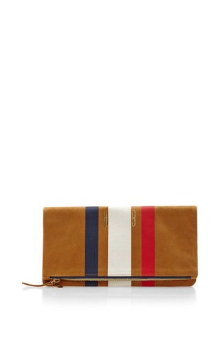 Medium clare vivier tan customizable fold over clutch in camel with tricolor stripes