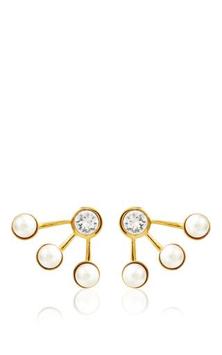 Medium ca lou gold yellow gold platted pixie maxi pearl earcuffs