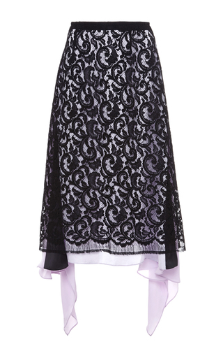 Medium tome black heavy lace pencil skirt
