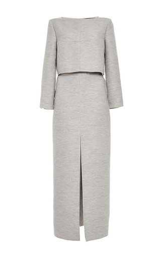 Medium wes gordon dark grey wool twill trompe loeil dress