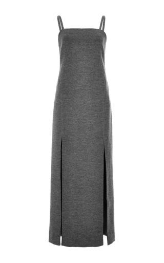 Medium wes gordon dark grey structured double slit slip dress