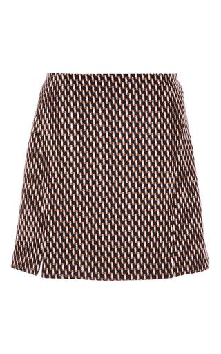 Medium wes gordon print geometric wool double slit mini skirt