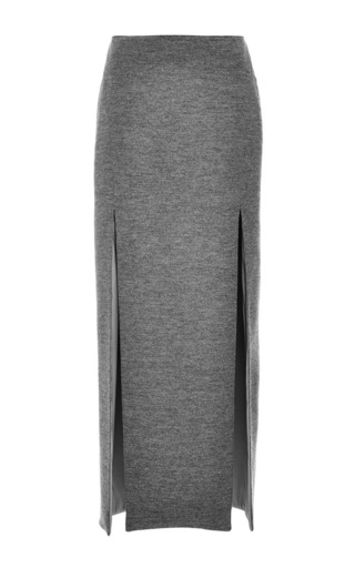 Medium wes gordon dark grey structured wool double slit pencil skirt