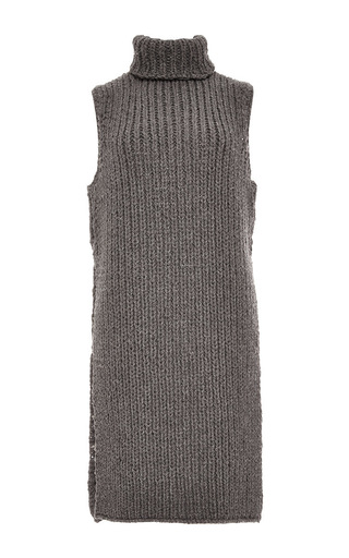 Medium wes gordon dark grey tunisian crochet knit long vest