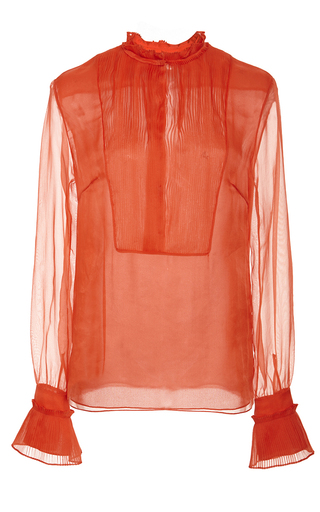 Medium honor red tomato red glass organza pleated bib blouse