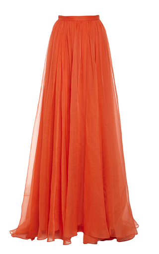Medium honor red glass organza pleated maxi skirt