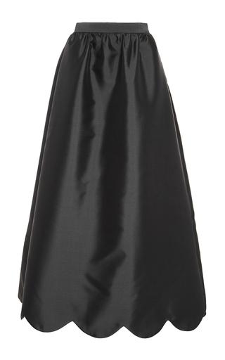 black silk mikado scalloped maxi skirt by honor moda