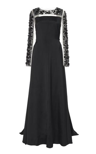 Medium honor black embellished crepe viscose a line gown