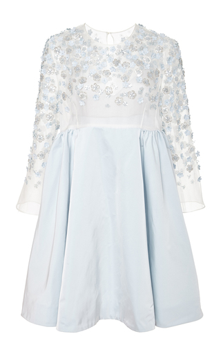 Medium honor blue embroidered organza and taffeta dress