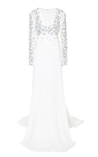 Medium honor white embellished lightweight crepe viscose gown