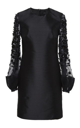 Medium honor black embellished mikado sheath dress