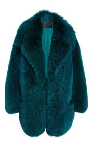 Medium cushnie et ochs green fox fur coat