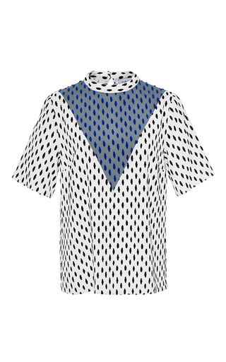 Medium tanya taylor white flocked dot marta blouse