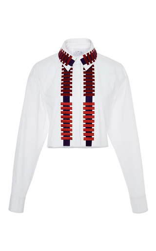 Medium tanya taylor white embroidered cotton penny button up