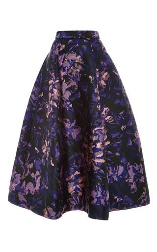 Medium monique lhuillier purple floral camo jacquard a line skirt