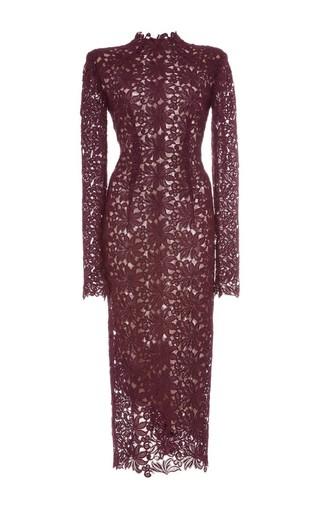 Medium monique lhuillier burgundy guipure lace long sleeve sheath dress