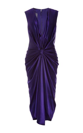 Medium monique lhuillier purple silk charmeuse v neck draped dress