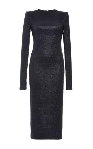 Medium monique lhuillier black metallic knit long sleeve dress