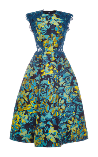 Medium monique lhuillier blue floral camo jacquard a line dress