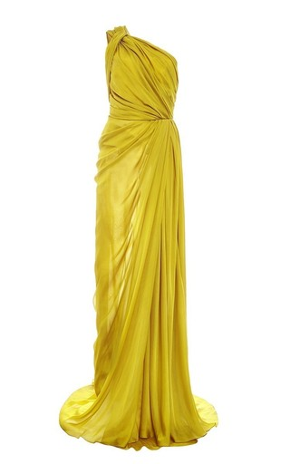 Medium monique lhuillier yellow silk satin chiffon one shoulder gown
