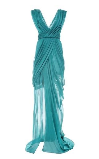 Medium monique lhuillier green silk satin chiffon v neck gown