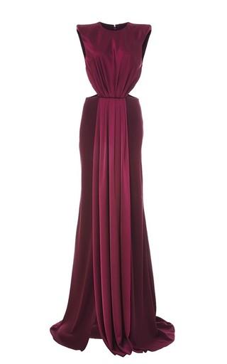 Medium monique lhuillier purple reverse satin crepe cutout gown