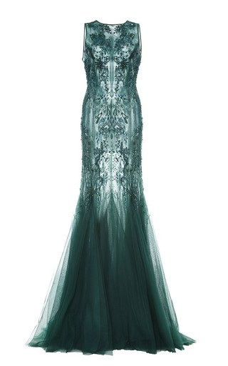 Medium monique lhuillier green embroidered tulle gown