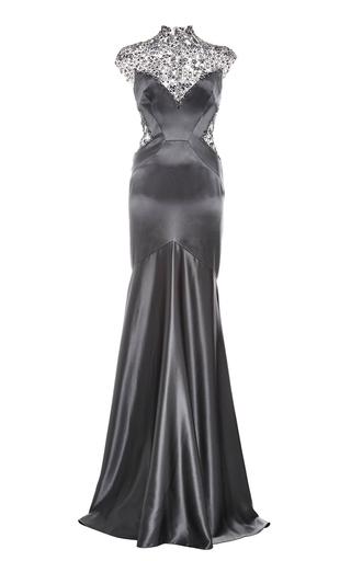 Medium monique lhuillier dark grey embroidered silk crepe back satin gown