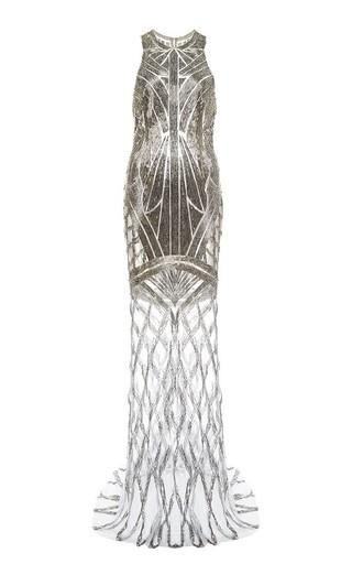 Medium monique lhuillier gold embroidered chiffon bias slip gown