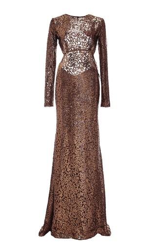 Medium monique lhuillier metallic silk burnout velvet long sleeve gown