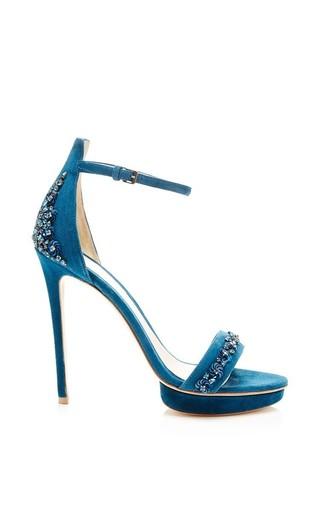 Medium monique lhuillier blue embroidered velour marlowe stiletto