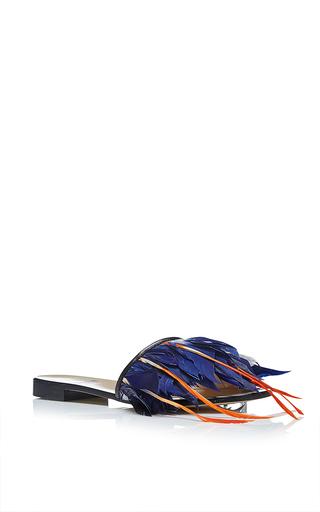 Medium msgm blue flat slide with feathers