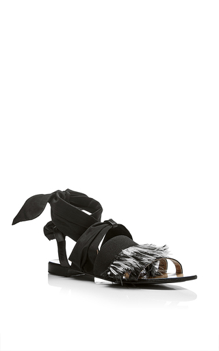 Medium msgm black ankle laced sandal with feathers