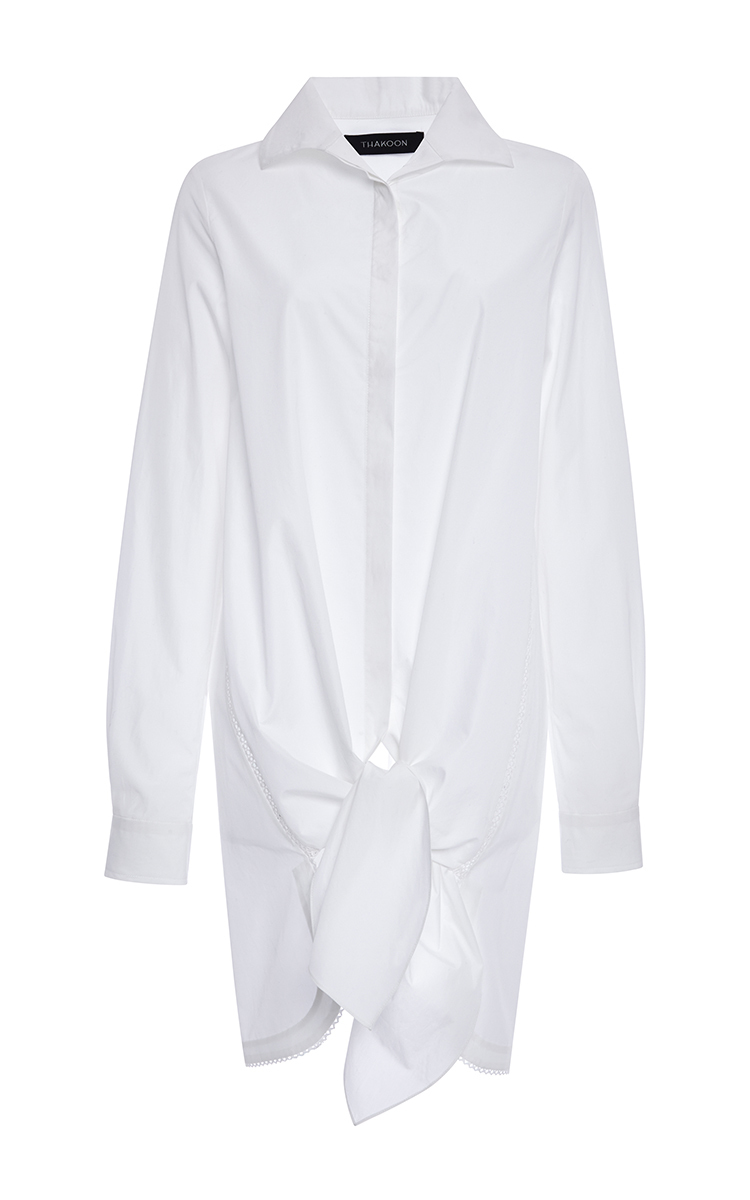 ffbffc27fa6 White Cotton Shirting Tie Front Shirt by Thakoon | Moda Operandi