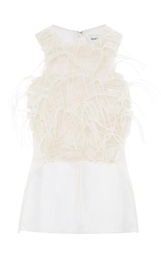 Medium prabal gurung white racer back and front peplum blouse