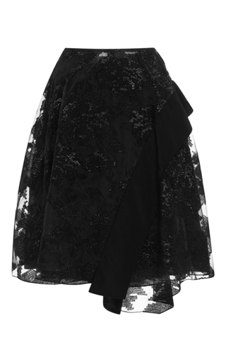 Medium prabal gurung black asymmetric hem circle skirt with band combo