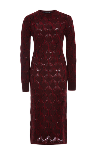 Medium thakoon burgundy merino crochet knit dress