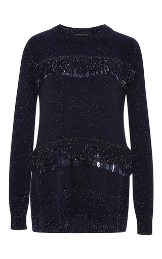 Medium thakoon black metallic knit loop fringe pullover
