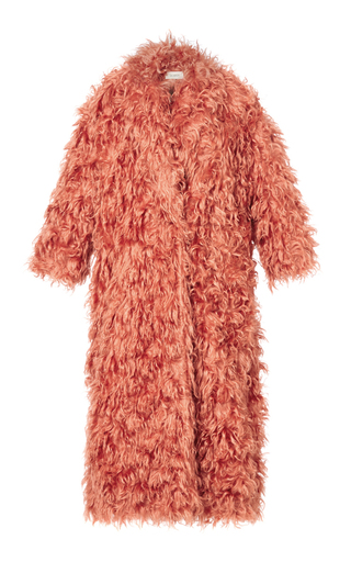 Medium isa arfen orange slouchy teddy long coat in coral beach