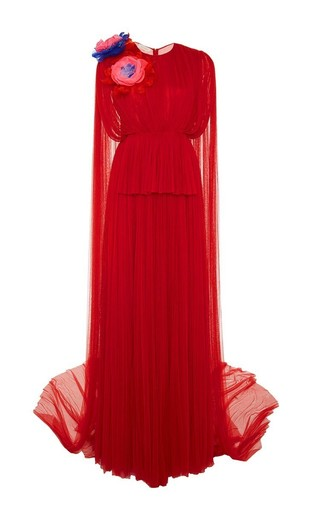 Medium delpozo red silk tulle gown with floral appliques