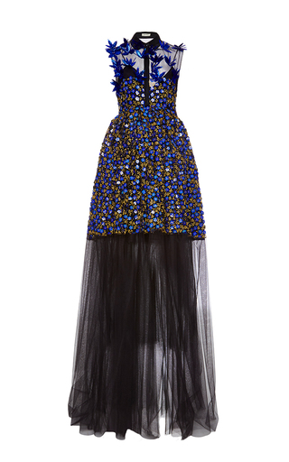 Medium delpozo print holographic embroidered tulle gown