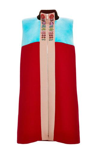 Medium delpozo red wool crepe mini dress