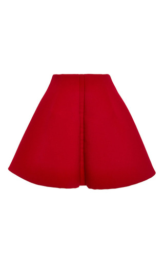 Medium delpozo red double faced wool crepe pleated miniskirt
