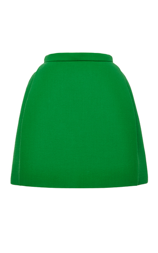 Medium delpozo green double faced wool crepe miniskirt in amber green