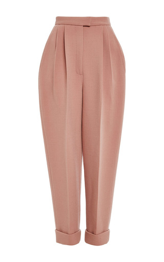 Medium delpozo pink double faced wool crepe trouser
