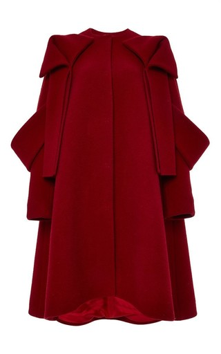Medium delpozo red wool mouflon a line coat