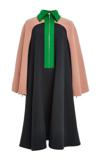 Medium delpozo green double faced wool crepe cape coat