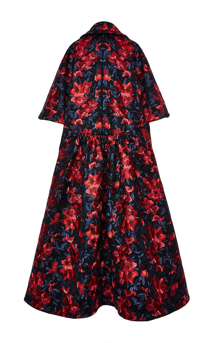 Embroidered floral print cape coat by delpozo moda operandi