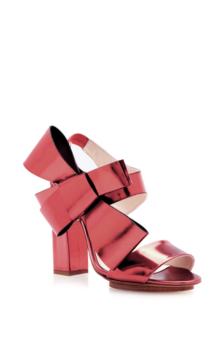 Medium delpozo pink calf leather heels with bow