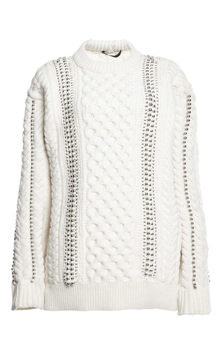 Medium alexander wang white felted cable knit pullover